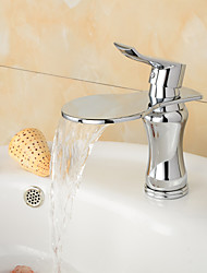 Contemporary Chrome Finish  Large Wide-mouth Waterfall Bathroom Sink Faucet (Short) - Sliver