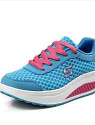 女性-オフィス カジュアル アスレチック-フェイクスエード チュール-ウェッジヒール プラットフォーム-プラットフォーム 幼児用靴ブルー レッド グレイ