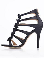 baratos -Feminino-Sandálias-Conforto Light Up Shoes-Salto Agulha-Preto-Seda-Casamento Social Festas & Noite