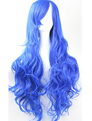 cheap -Cos Anime Bright Colored Wig Long Curly Sapphire  Hair Wig 80 cm