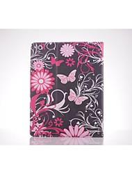 billige -lyserød sommerfugl pu læder full body TPU Taske med kort holder til iPad 2 / iPad 3 / iPad 4