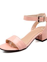 Feminino Sandálias Conforto Chanel Courino Verão Social Conforto Chanel Salto Grosso Salto de bloco Branco Verde Rosa claro 5 a 7 cm