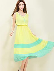 povoljno -Žene Chic & Moderna Širok kroj Haljina - Moderna, Color block Midi
