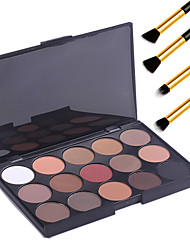 15 Farben professionellen Make-up-warme nackte Lidschatten matte Schimmer Palette Kosmetik + 4 Stück Bleistift Make-up Pinsel