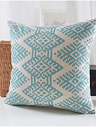 Modern Style Blue Pattern Cotton/Linen Decorative Pillow Cover