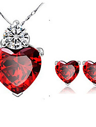 cheap -Women's Crystal Jewelry Set Earrings / Necklace - Red For Party / Daily / Casual