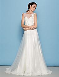 baratos -Lanting Bride® Linha A Pequeno / Tamanhos Grandes Vestido de Noiva Cauda Corte Decote em U Tule com