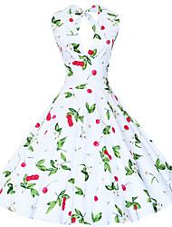 Vestito Da donna Taglie forti / Sexy / Vintage / Da serata / Casual Fantasia floreale / Con stampe Al ginocchioAll'americana / A V