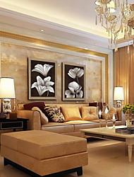 pintura moderna abstrata flor de mão pintado óleo de linho natural com esticada enquadrado - conjunto de 2
