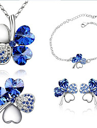 cheap -Women's Crystal / Rhinestone Jewelry Set Earrings / Necklace / Bracelets & Bangles - Fashion Green / Blue / Royal Blue For Party / Daily
