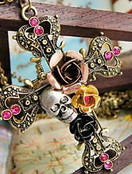 Feminino Colares com Pendentes Formato de Flor Formato de Cruz Caveira Rose Liga bijuterias Jóias Para Halloween