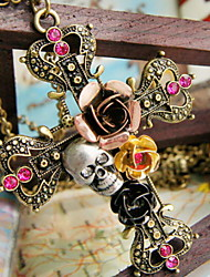 preiswerte -Damen Kreuz Rosen Totenkopf Blume Anhängerketten Aleación Anhängerketten . Halloween