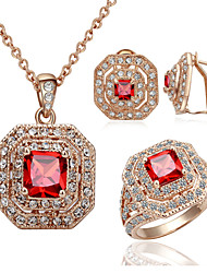 cheap -Women's Crystal Austria Crystal Cute Jewelry Set Earrings / Necklace / Ring - Vintage / Party / Work Square / Geometric Jewelry Set For
