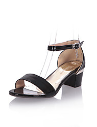 cheap -Women's Sandals Comfort Spring Summer Leatherette Walking Shoes Casual Dress Buckle Chunky Heel Black Beige Red Green 1in-1 3/4in