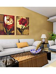 economico -pittura a olio a mano fiori astratti tele dipinte con allungato incorniciato - set di 2