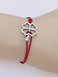 Korean Clover Alloy   Knot Wax Rope Manual Woven  Bracelet