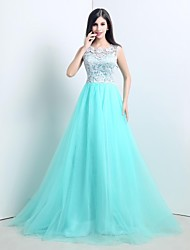 A-Line Princess Illusion Neckline Sweep / Brush Train Tulle Formal Evening Dress with Beading Lace Pleats by TS Couture®