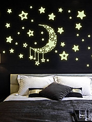 Amazing Fluorescence Glow In Dark Luminous Cartoon Moon Star Nursery Baby Room Home Decor Wall Stickers For Kids