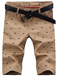 Homens Shorts Calças, Misto de Algodão Estampado