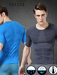 cheap -YUIYE® New Special Short-sleeved T-Shirts Men's Sports Body Sculpting Shaping Clothes Breathable Wicking Tight Tops