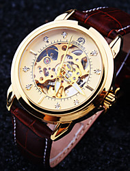 cheap -Men's New Round Diamond Dial Mineral Glass Mirror Genuine Leather Band Waterproof Fashion Mechanical Watch Wrist Watch Cool Watch Unique Watch