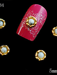 cheap -034 5mm Beauty Jewelry 3D Golden White Pearl Alloy Metal 10PCS DIY Nail Art Nail Jewelry Supplies Hot