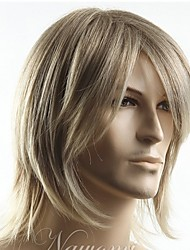 cheap -top grade quality man s short blonde straight synthetic hair wig men s best choice free shipping