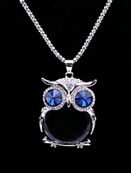 cheap -Fashion Women's Crystal Animal Sweater Chain Necklace with Owl Shaped Big Glass Pendant  Long Necklace (Blue)