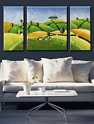 oliemaleri dekoration abstrakt landskab hånd malede med strakt indrammet - sæt af 3