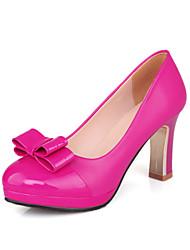 Недорогие -Жен. Обувь Лакированная кожа Полиуретан Весна Лето Обувь на каблуках На толстом каблуке Круглый носок Бант для Офис и карьера Для