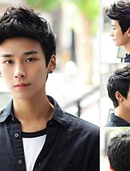 Недорогие -мужская мода высокого качества черный короткие волосы синтетический парик