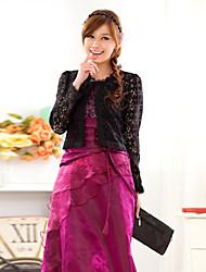 cheap -Wedding Wraps Long Sleeve Lace/Polyester Casual/Party Elegant Boleros Black/White Bolero Shrug