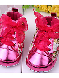 Girls' Baby Shoes Patent Leather PU Winter Spring Fall First Walkers Comfort Flats Bowknot Flower For Casual Outdoor Dress Red Pink Purple