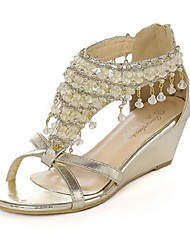 Mulheres Sapatos Courino Verão Salto Plataforma para Casual Branco Dourado