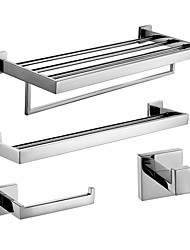 cheap -Polish Stainless Steel Bath Accessories Set with Double Towel Bar Toilet Paper Holder Towel Shelf with Bar and Robe Hook