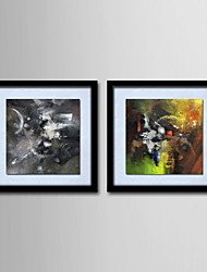 cheap -Oil Painting Decoration Abstract Hand Painted Canvas with Stretched Framed - Set of 2