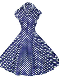 cheap -Maggie Tang Women's White/Black/Blue 50s Vintage Polka Dots Swing Midi Dress