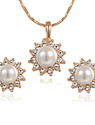 T&C Women's Lovely 18K Rose Gold Plated Clear Austria Crystal Pearl Sun Flower Pendant Necklace Earrings Set