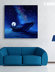 cheap -E-HOME® Stretched LED Canvas Print Art The Moon Boat LED Flashing Optical Fiber Print
