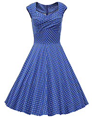 cheap -Women's Going out Vintage A Line Dress,Polka Dot Sweetheart Knee-length Short Sleeves Cotton Polyester Others Spring Summer Fall Mid Rise