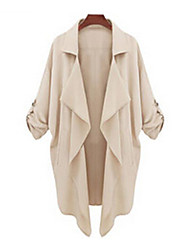 cheap -Women's Casual Cute Medium Long Sleeve Long Trench Coat (Polyester)