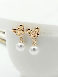 abordables -Pendientes cortos Pendientes colgantes Cristal Perla Perla Artificial Brillante Chapado en Oro 18K de oro La imitación de diamante Moda