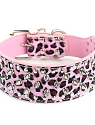 Dog Collar Adjustable/Retractable / Studded Rock Purple / Multicolor PU Leather