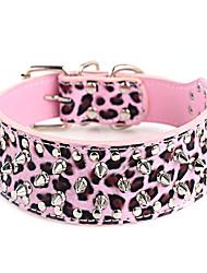 preiswerte -Hund Halsbänder Regolabile / Einziehbar Beschlagen Felsen Purpur Rose Leopard