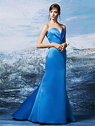 cheap -Mermaid / Trumpet Sweetheart Neckline Sweep / Brush Train Satin Formal Evening Dress with Criss Cross by TS Couture®