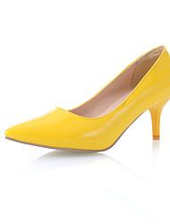 Feminino Primavera Verão Outono Courino Social Salto Agulha Preto Amarelo Vermelho Azul Dourado 5 a 7 cm