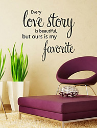 cheap -Wall Stickers Wall Decals Style Love Story English Words & Quotes PVC Wall Stickers