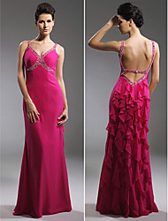Sheath / Column Straps Floor Length Chiffon Prom Formal Evening Military Ball Dress with Beading Cascading Ruffles by TS Couture®