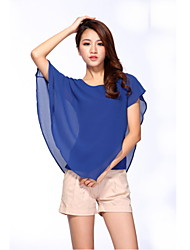 Women's Casual/Daily Simple Street chic All Seasons Blouse,Solid Round Neck Short Sleeves Thin