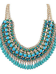 cheap -Women's Lasso Statement Necklace - Leather Drop Statement, Fashion, Folk Style Green, Blue, Light Pink Necklace Jewelry For Party, Special Occasion, Birthday